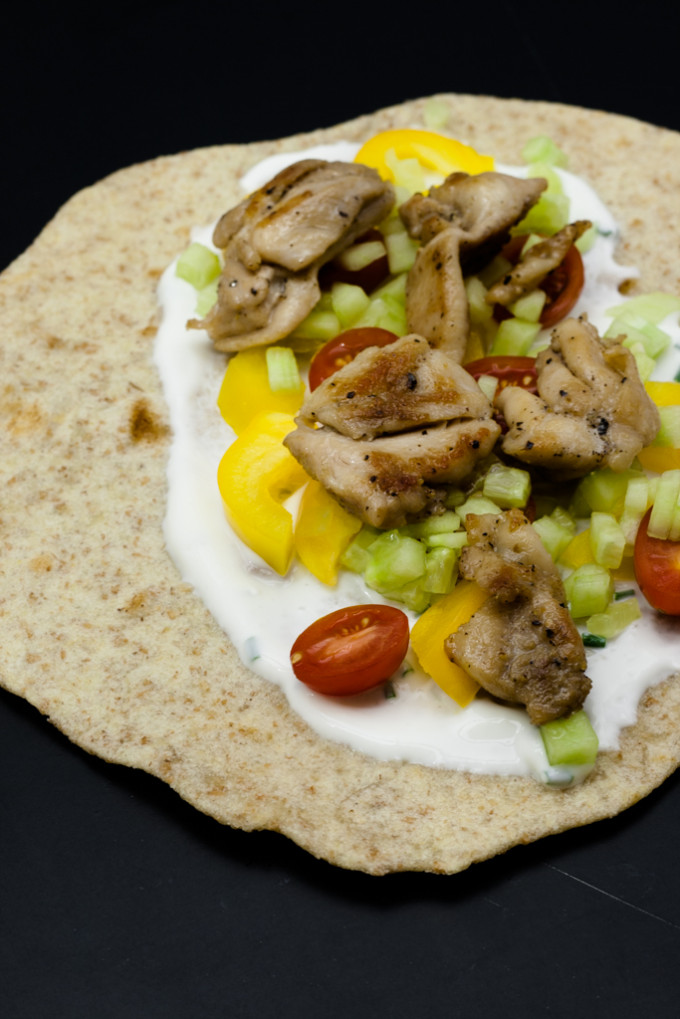 Chicken tortilla with yogurt dressing