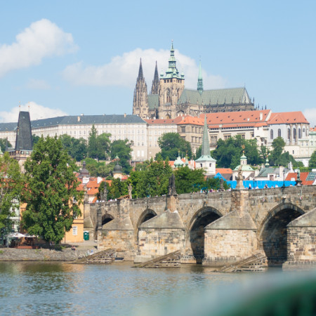 Charles Bridge Prague Castle summer Vltava river