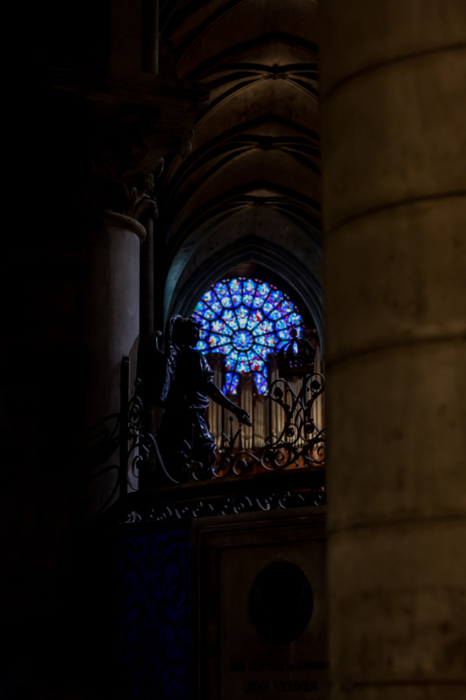 notre-dame cathedral window paris france
