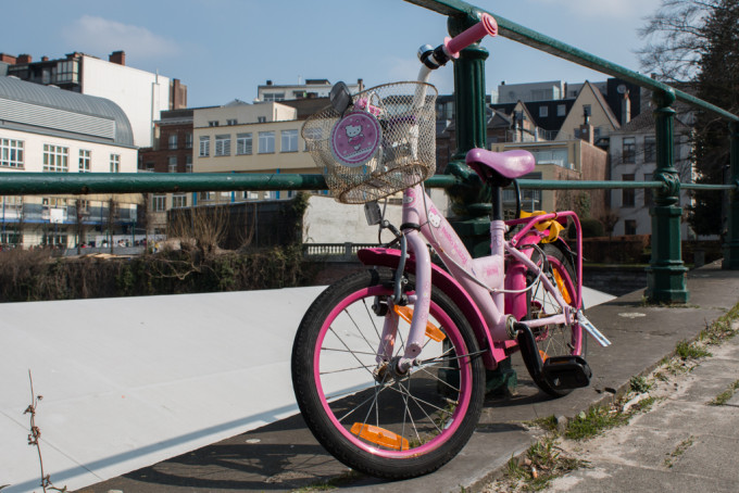 Gent Ghent history city Belgium bicycle bike child children pink hello kitty