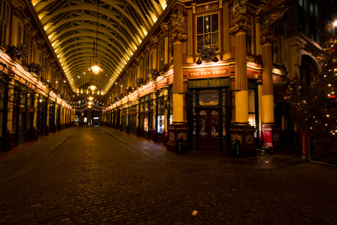 Leadenhall Market london uk lights christmas